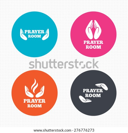 Circle buttons. Prayer room icons. Religion priest faith symbols. Pray with hands. Seamless squares texture. Vector - stock vector