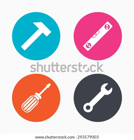 Circle buttons. Screwdriver and wrench key tool icons. Bubble level and hammer sign symbols. Seamless squares texture. Vector - stock vector