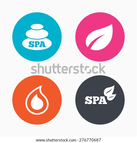 Circle buttons. Spa stones icons. Water drop with leaf symbols. Natural tear sign. Seamless squares texture. Vector - stock vector