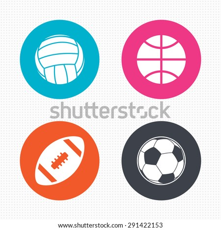 Circle buttons. Sport balls icons. Volleyball, Basketball, Soccer and American football signs. Team sport games. Seamless squares texture. Vector - stock vector