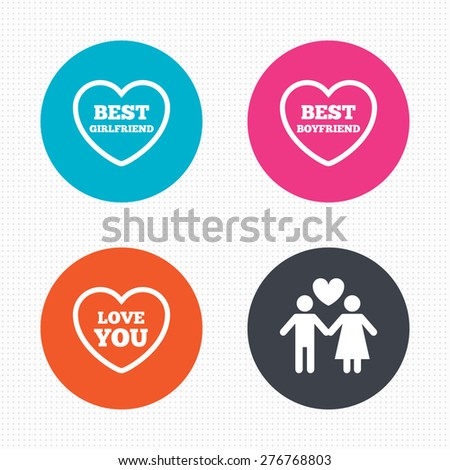 Circle buttons. Valentine day love icons. Best girlfriend and boyfriend symbol. Couple lovers sign. Seamless squares texture. Vector - stock vector