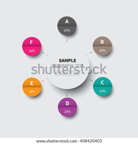 circle chart made from circles options, timeline / infographic circle chart template - stock vector