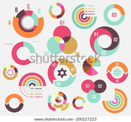 Circle charts and diagrams templates collection for business - stock vector