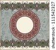circle christmas vintage template - stock vector