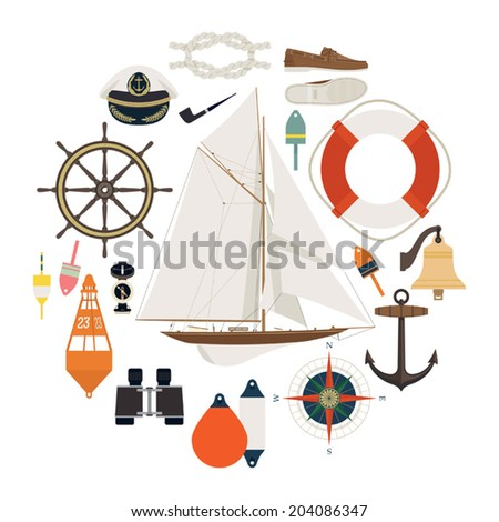 Circle composed of different nautical items on white background - stock vector