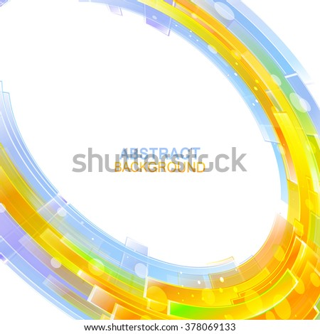 Circle composed rectangles.Blue orange colors.Colorful abstract background - stock vector