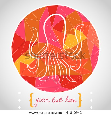 Circle composition made of geometric shapes. Label design. Hand drawn funny cartoon octopus. Vector illustration. - stock vector