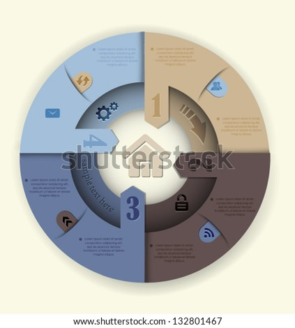 Circle design website homepage template. Can be used for infographic. - stock vector