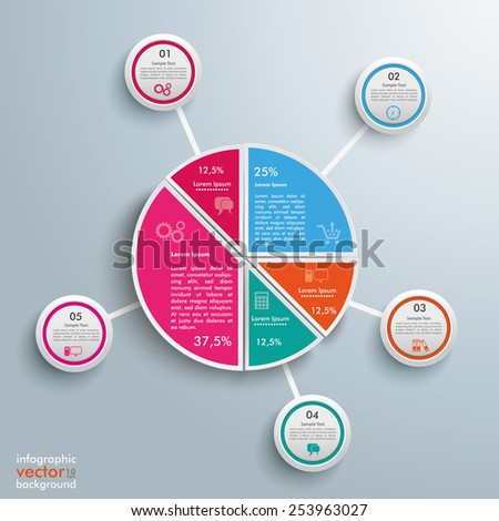 Circle diagram on the grey background. Eps 10 vector file. - stock vector