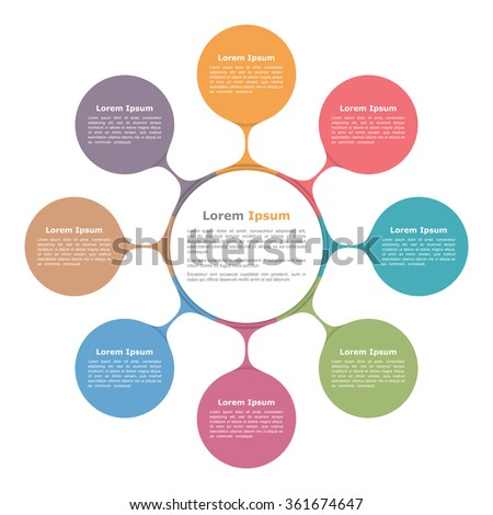 Circle diagram with eight elements, infographic template, vector eps10 illustration - stock vector