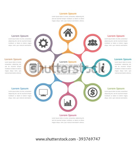 Circle diagram with eight elements with icons and text, flow chart template, business infographics, vector eps10 illustration - stock vector