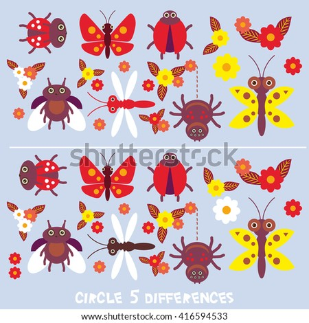 circle 5 differences Educational Game for Preschool Children Picture puzzle: Find the five differences between the two pictures insects Spider butterfly dragonfly ladybugs on blue background. Vector - stock vector