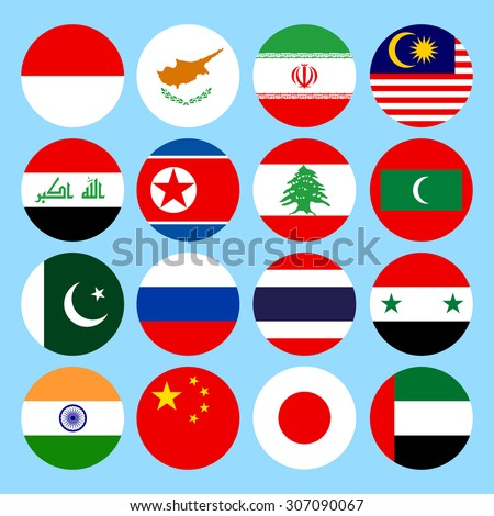 Circle flags icons in flat style. Simple flags Asia. countries. Vector illustration - stock vector