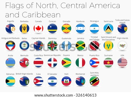 Circle Flags Of The World. Flags of  North, Central America  - stock vector