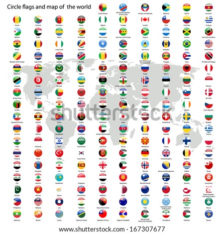 Circle flags vector of the world and world map on white background - stock vector