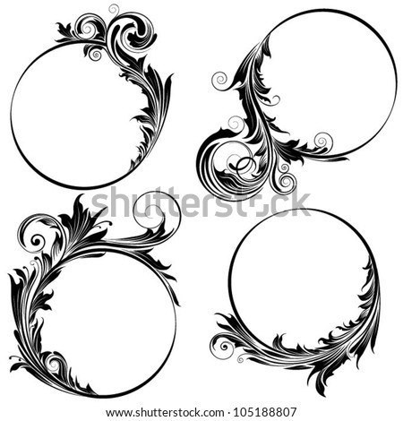 Circle floral design - stock vector