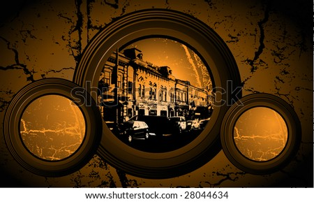 Circle frame. Europe streets. Background for town scape subject. - stock vector