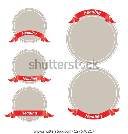Circle frame with red ribbon - stock vector