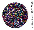 Circle full of colored people. People made of flags. - stock vector