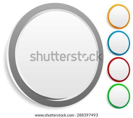 Circle graphics. Circles buttons, badges with blank space. - stock vector