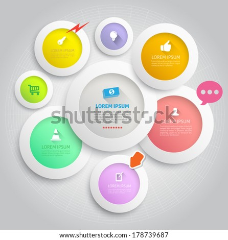 Circle group pastel color style with icons. Can use for promotion, business concept, education diagram, kid advertising. - stock vector
