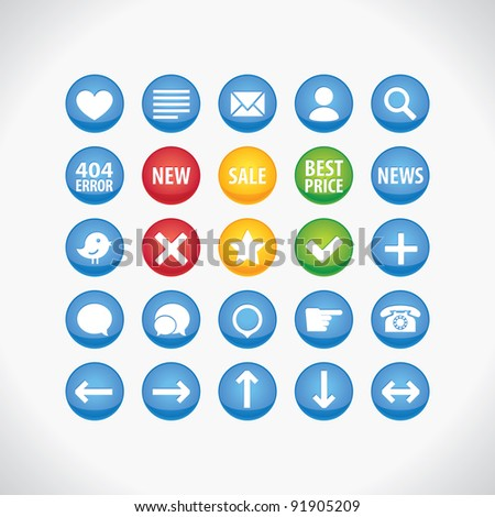 Circle icons set - stock vector