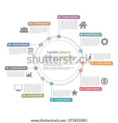 Circle infographics template with numbers, process diagram, vector eps10 illustration - stock vector
