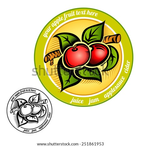 circle label with apple on branch color and black engraving - stock vector