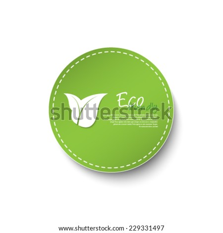 Circle leaf icon / logo design - stock vector
