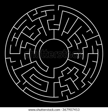 Circle Maze. Labyrinth with Entry and Exit. Find the Way Out Concept. Transportation. Logistics Abstract Background Concept. Transportation and Logistics Concept. Vector Illustration. - stock vector