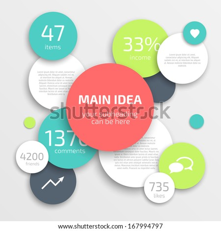 Circle modern business Infographics design template. Can be used for workflow layout, banner, diagram, web design. - stock vector