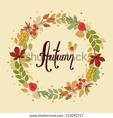 circle of autumn leaves - stock vector