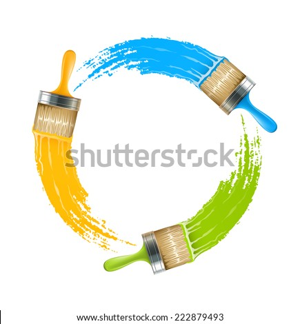 Circle of brushes with paint drawing colors. Eps10 vector illustration. Isolated on white background - stock vector