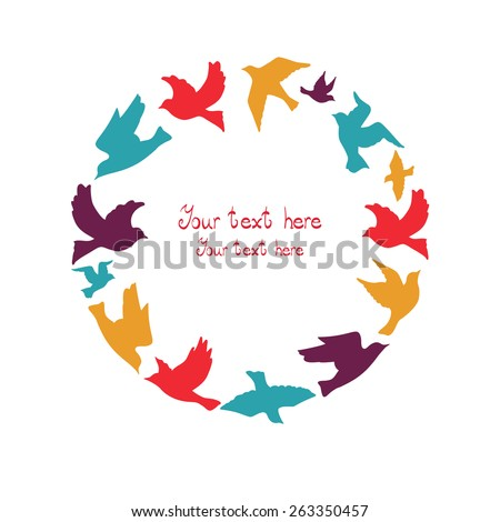 Circle of colorful birds. - stock vector