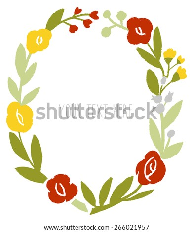 Circle of flowers.  Floral frame made in vector. Floral Frame. Cute retro flowers arranged un a shape of the wreath perfect for wedding invitations and birthday cards. Vector banner design. - stock vector