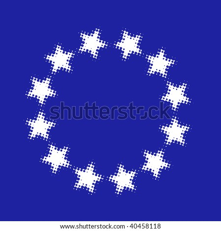 Circle Of Large Stars, halftone vector - stock vector