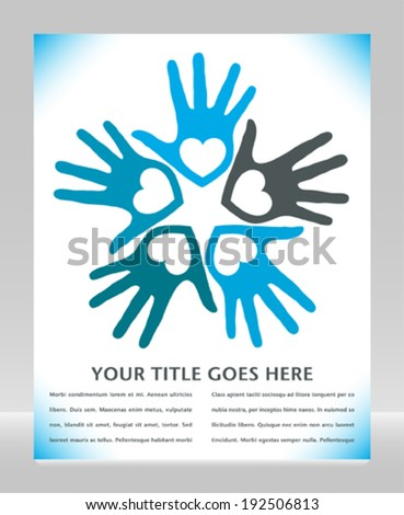 Circle of loving hands with copy space.  - stock vector