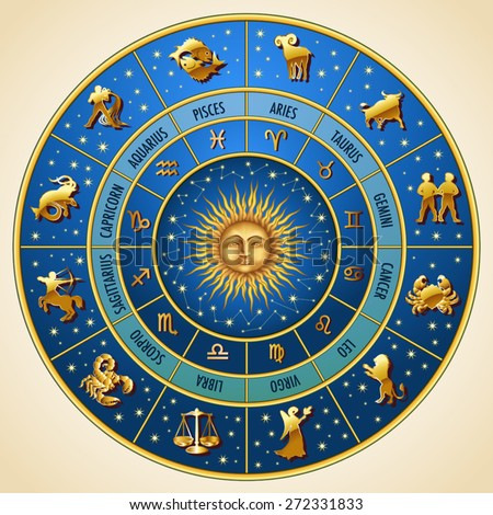 Circle of the zodiac signs. Vector Illustration - stock vector