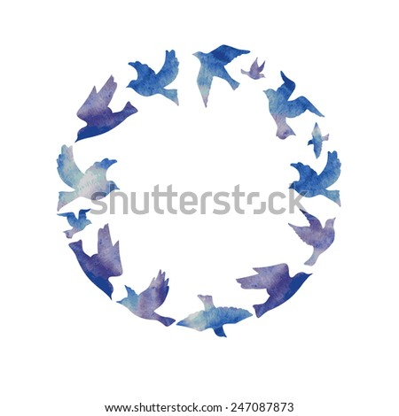 Circle of watercolor birds. - stock vector