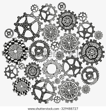 Circle ornament. Hand drawn art mandala. Set of artistically gears. Hand-drawn, ethnic, floral, retro, doodle, vector, tribal design element. Black and white background. Sketch by trace. - stock vector