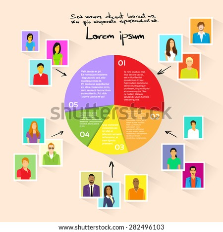Circle Pie Diagram People Social Media Marketing Target Group Audience Demographic Statistic Information Vector Illustration  - stock vector