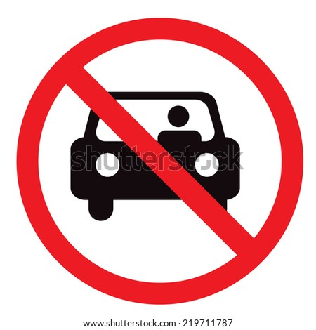 Circle Prohibited Sign For No Car or No Parking Sign - stock vector