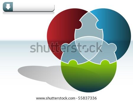 Circle Puzzle Chart - stock vector