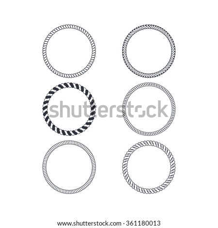 circle rope collection - stock vector