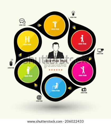 Circle rotate with icons template. Can use for business concept or advertising. - stock vector