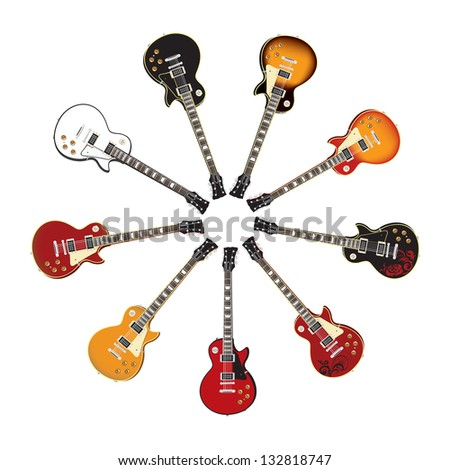 Circle Set of Electric Guitars - stock vector