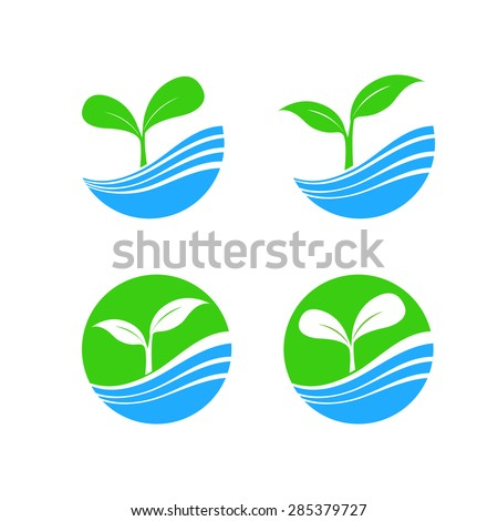 Circle shape logo element with nature plant and water concept, hydroponic brand symbol icon, vector illustration - stock vector