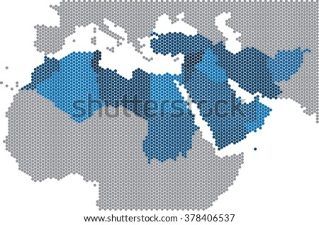 Circle shape of Middle east and nearby countries map. Vector illustration - stock vector