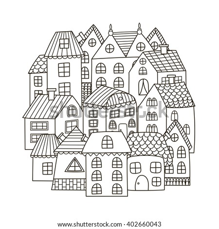 Circle shape pattern with houses for coloring book. Black and white background. Vector illustration - stock vector