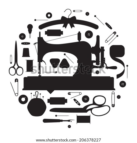 Circle shaped sewing items silhouettes set featuring vintage sewing machine on white background - stock vector